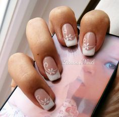 Nail Art - French Opi Passion Création Plus French Tip Nail Art, Gel Nails French, French Nail Designs, Nail Art Designs, French Toes, Floral Nail Art, Nail Art Videos, Trendy Nail Art, Gel Nail Art