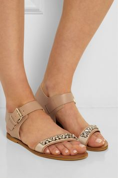 J.Crew | Crystal-embellished leather sandals | NET-A-PORTER.COM