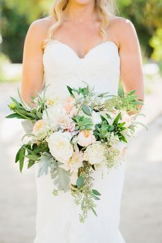 Bridal bouquet with succulents and garden roses from Chris + Liz's Santa Barbara museum wedding on Joelle Charming. // Photography :: MARIANNE WILSON | Florals :: THESE BUDS A BLOOMING