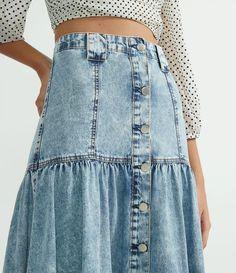 Saia Midi Jeans com Botões Frontais e Babados Azul All Jeans, Denim Skirt, Casual, Skirts, Dresses, Fashion, Denim Button Up, Front Button, Ruffles