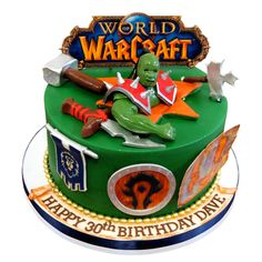 World Of Warcraft Orc Cake Like many 30 year olds, Dave is an online game fanatic, and World of Warcraft is his thing! We created this stunning cake for his birthday party for 10 people. The cake consists of one round tier on a round base. We covered the the base in a white fondant and surrounded it with a navy blue ribbon. On the base we have .... http://cmnycakes.com/gallery2/v/Cakes+For+All+Occasions/World+Of+Warcraft+Orc+Cake.html