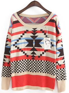 Apricot Red Long Sleeve Geometric Pattern Sweater