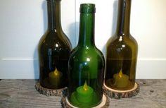 DIY Projekte aus Weinflaschen kerzenständer