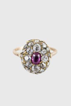 Just divine. Antique Georgian Diamonds, Ruby & 14k Gold Dome Ring