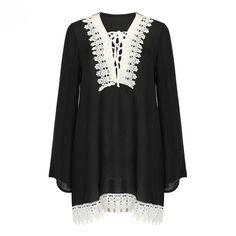 181529d6f8 Black Crochet White Lace Up Lattice Loose Chiffon Dress Boho V Neck Long  Flare Sleeve Casual Mini Spring Fall Women Clothing