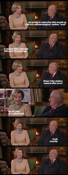 His Majesty King Harald V Of Norway...I like it because she is laughing too.