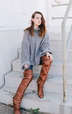 chunky sweater with brown leather boots