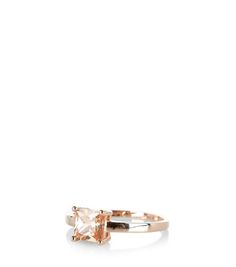 Rose Gold Crystal Stone Ring  | New Look