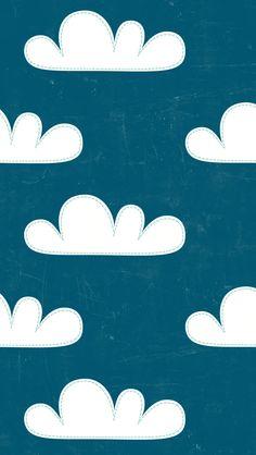 iphone 5 wallpaper - Super cute cartoony #clouds #navy #pattern #fun