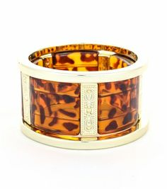 Three (3) Piece Electroplated Resin Bangle and Stretch Resin Tortoise Bracelet Set