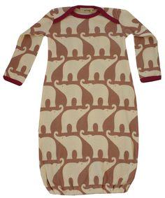 "Zebi Baby Organic ""Rose Elephant"" Newborn Gown + Hat Set"