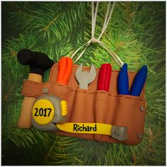 Perfect for that handy man in your life, this tool belt may be personalized with the name and year of your choosing. Tool Belt, Keepsakes, Personalized Gifts, Christmas Ornaments, Souvenirs, Customized Gifts, Christmas Jewelry, Christmas Decorations, Personalised Gifts