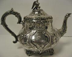 RARE. Antique Victorian Sterling Silver Louis Pattern Tea Set Complete ...