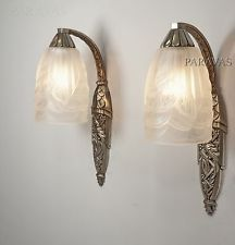 CHARLES SCHNEIDER : PAIR FRENCH ART DECO WALL SCONCES birds appliques lampe 1930