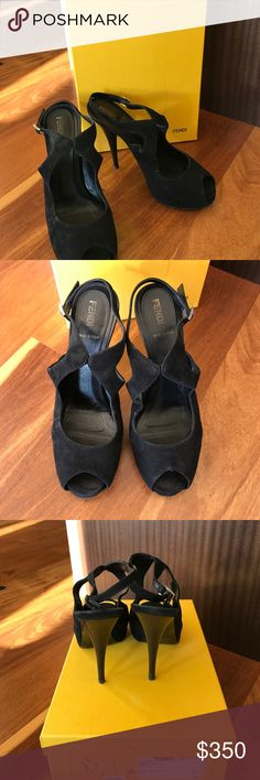"Fendi Spuntata Black Suede Heels Euro size 37.5 In great condition. Only worn a few times. Heel is approx 4.5"". Euro size 37.5 and fits like US size 7. Black suede. Fendi Shoes Heels"