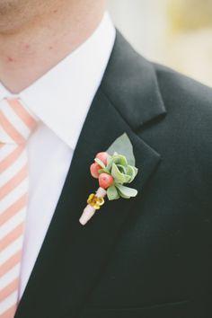 striped tie groom look #groom #peachtie #weddingchicks http://www.weddingchicks.com/2014/03/21/pretty-peach-wedding/