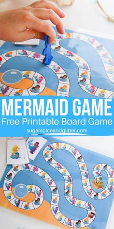 Free Printable Mermaid Board Game ⋆ Sugar, Spice and Glitter Building Games For Kids, Free Games For Kids, Kids Party Games, Diy Games, Board Games For Kids, Kids Board, Diy Board Game, Game Boards, Preschool Games