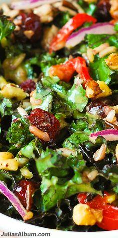 Healthy Thanksgiving Kale Salad with Cranberries, Walnuts, and Wild Rice. Gluten free, vegetarian, vegan! #BHG #sponsored