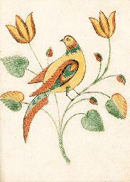 PENNSYLVANIA SCHOOL, 19TH CENTURY  A PRESENTATION DRAWING OF A BIRD