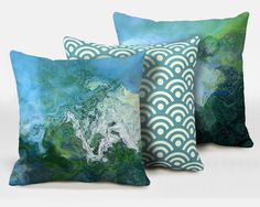 Three decorative pillows with abstract art, 16x16, 18x18, 20x20, blue and green finished accent pillows, throw pillows, Rising 4