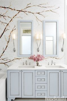 Bathroom Design & Decor Bathroom with double sink and pale blue woodwork, cherry blossoms Sauna Room Double Sink Bathroom, Bathroom Vanity Tops, Bathroom Vanity Lighting, Small Bathroom, Master Bathroom, Small Elegant Bathroom, White Bathroom, Bad Inspiration, Bathroom Inspiration