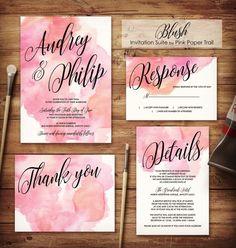 Watercolor Wedding Invitation Blush Wedding Invitation