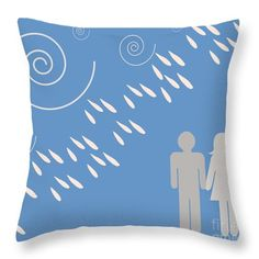 Weather The Storm Together - Rain Love In Bright Blue Beach Fabric Throw Pillow by Irene Irene