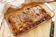 Baked pork ribs marinated Ibizan style - Costillar de cerdo al horno marinado al estilo ibicenco. Entree Recipes, Pork Recipes, Mexican Food Recipes, Healthy Recipes, Ethnic Recipes, Chops Recipe, Carne Asada, Flour Recipes, Cooking Time