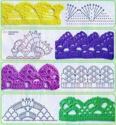 Esma's 360 media content and analytics Crochet Border Patterns, Crochet Boarders, Crochet Lace Edging, Crochet Diagram, Crochet Squares, Crochet Trim, Crochet Designs, Crochet Flowers, Crochet Hats