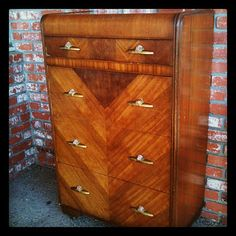 My grandma's dresser that I need to restore I have similar one I'm trying to figure out what finish to use! Art Deco Decor, Art Deco Design, Decoration, Waterfall Furniture, Waterfall Dresser, Art Et Architecture, Muebles Art Deco, Art Nouveau Furniture, Streamline Moderne