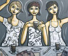 """Three skinny lattes"" original artwork 120 x 100cm painting on canvas by Noosa artist Sarah Thomas www.editionsnoosa.com e sarah@editionsnoosa.com"