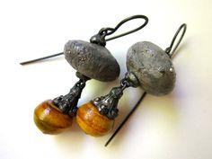 Loomer - primitive assemblage dusky indigo blue silver speckled ceramic art bead, horn bead, filigree bead cap soldered black metal earrings