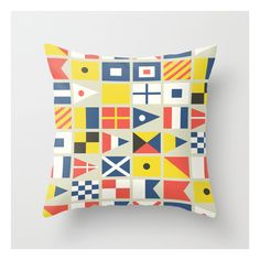 Geometric Nautical Flag And Pennant Throw Pillow ($20) ❤ liked on Polyvore featuring home, home decor, throw pillows, nautical theme home decor, nautical home decor, flag throw pillow, nautical accent pillows and geometric pattern throw pillows