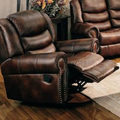 chocolate leather couch with nailhead trim | Rocker Recliner Sofa Chair Nail Head Trim Brown Leather Like Fabric by ...