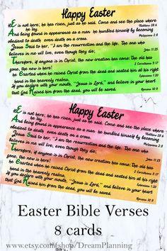 Scripture Easter Cards, Easter Bible Verses cards, Printable Easter Card, Bible journaling, Easter B Easter Scriptures, Easter Bible Verses, Bible Verses For Kids, Verses For Cards, Scripture Cards, Kids Bible, Scripture Study, Easter Prayers, Prayers For Children