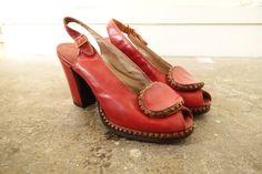 1950's stud red heels . Vintage 50s red peep by CubesandSquirrels, $245.00