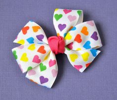Rainbow Hearts Hair Bow by prettymuchadorable on Etsy, $3.25