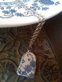 Blue and white English china pendant and necklace by AzureJoyeria