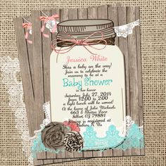 Rustic Baby Shower Invitation Mason Jar Lace Shabby Printable Invite Digital File 5x7