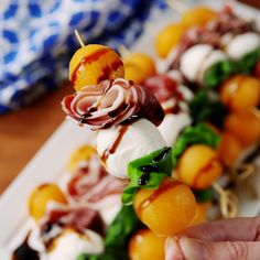 skewers tapas are the easy summer app you've been searching for. Finger Food Appetizers, Appetizers For Party, Appetizers On Skewers, Appetizers For Thanksgiving, Easy Summer Appetizers, Party Fingerfood, Bridal Shower Appetizers, Toothpick Appetizers, Individual Appetizers