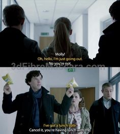 Im just going to pin this saying I love how Molly is busy with her stuff, but then John and Sherlock just come out of nowhere and Sherlocks like Molly youre coming with us and when she says she already has plans he just whips out those crisps, like its all good. We got crisps. #expartner #love #relationship #lovesick #advice #romance #partner #breakup #rekindle #spark