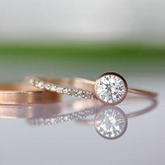 6mm Moissanite Engagement Ring In 14K Rose Gold - Made To Order. $560.00, via Etsy.
