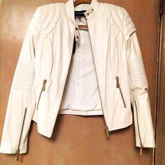 ✨SALE Selma Cilek White Leather Jacket NWT Brand new with tags, beautiful 100% lambs skin leather, gold hardware and zippers, has padded style shoulders, NO TRADES, Price negotiable! Selma Cilek Jackets & Coats