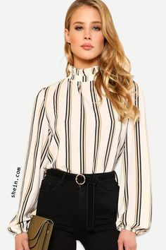 510ad402918df5 Frilled Collar Striped Top Trendy Fashion, Fashion Outfits, Trendy  Clothing, Ootd Fashion,