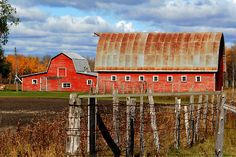 Rusted red barn