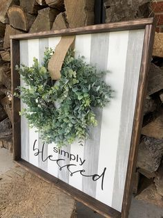 Simply Blessed Wooden home sign with wreath. Simply Blessed Wooden home sign with wreath. French Kitchen Decor, Farmhouse Kitchen Decor, Farmhouse Chic, Primitive Kitchen, Country Kitchen, Mason Jars, Gallery Wall Layout, Interior Minimalista, Home Signs