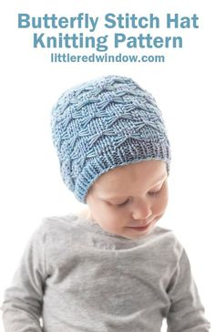 The Butterfly Stitch Hat knitting Pattern looks like it's covered in pretty butterflies and will be adorable on your newborn, baby or toddler! Baby Hat Knitting Pattern, Lace Knitting Patterns, Beanie Pattern, Easy Knitting, Motifs Beanie, Butterfly Stitches, Baby Hats, Knitting Projects, Knitted Hats