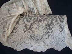 Maria Niforos - Fine Antique Lace, Linens & Textiles : Antique Lace # LA-240 Exquisite Brussels Point De Gaze Flounce