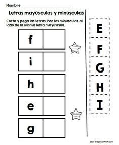 Great activity for your students that are learning capital and lower case letters in Spanish. Students will cut and paste and match the letters that go together. You could use this for a literacy centers, individual work or an all class activity in your Kindergarten bilingual classroom. #bilingualkindergarten #reconocimientodeletras