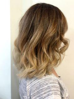Balayage medium length blond golden brunette mid length soft waves Denver